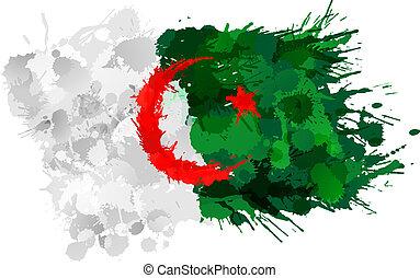 flagga, gjord, algerier, färgrik, stänk