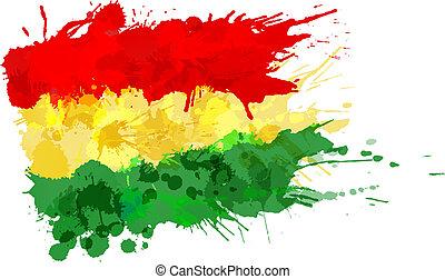 flagga, gjord, bolivian, färgrik, stänk
