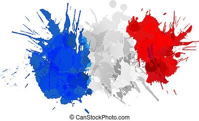 flagga, gjord, fransk, färgrik, stänk