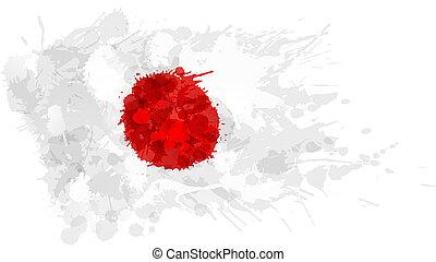 flagga, gjord, japansk, färgrik, stänk