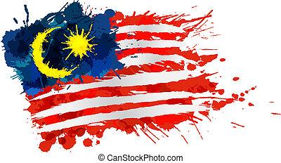 flagga, gjord, malaysiska, stänk, färgrik