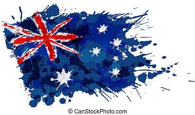 flagga, gjord, stänk, färgrik, australier