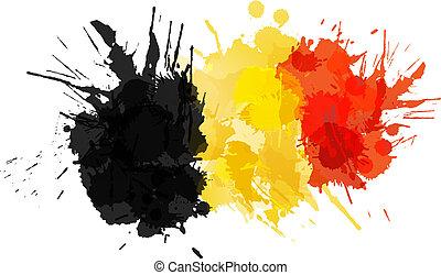 flagga, gjord, stänk, färgrik, belgisk