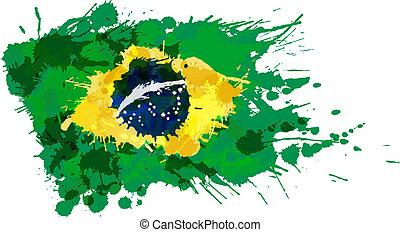 flagga, gjord, stänk, färgrik, brasiliansk