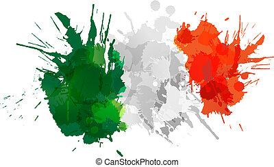 flagga, gjord, stänk, färgrik, italiensk