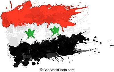 flagga, gjord, syrisk, stänk, färgrik