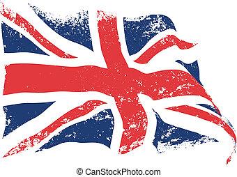 flagga, grunge, brittisk