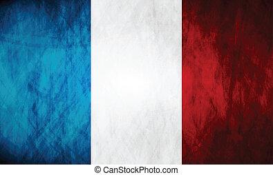 flagga, grunge, fransk