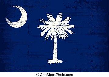 flagga, grunge, södra carolina