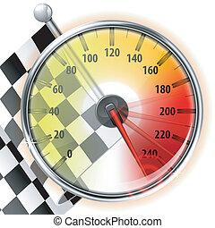 flagga, hastighetsmätare