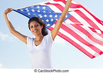 flagga, holdingen, kvinna, nätt, amerikan