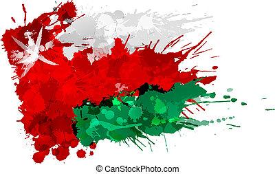 flagga, oman, gjord, stänk, färgrik