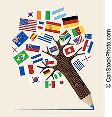 flagga, ombyte, blyertspenna, träd, begrepp