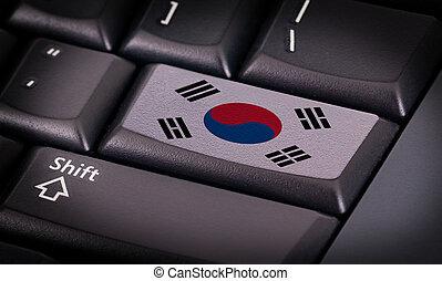 flagga, på, tangentbord
