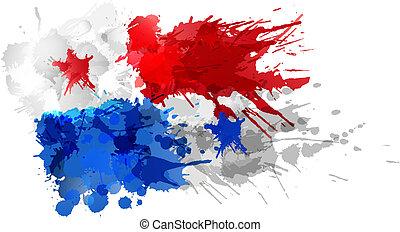 flagga, panama, gjord, stänk, färgrik