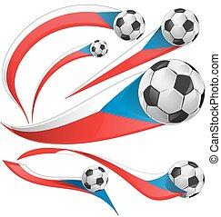 flagga, republik, boll, sätta, tjeck, fotboll
