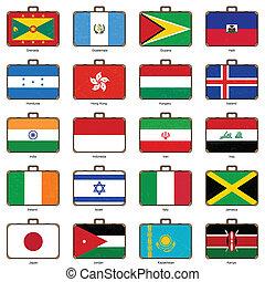 flagga, resväska