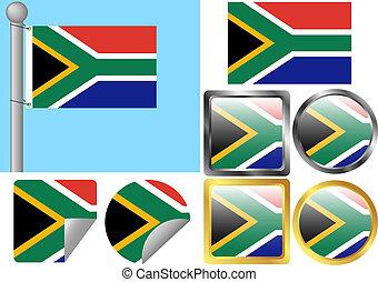 flagga, sätta, afrika, syd