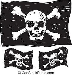 flagga, sjörövare, skiss