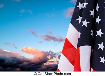 flagga, solnedgång, vila, usa