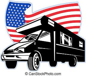 flagga, stripes, stjärnor, amerikan, isolerat, campare, vit, skåpbil