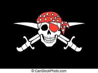 flagga, uppfattat, sjörövare, glad