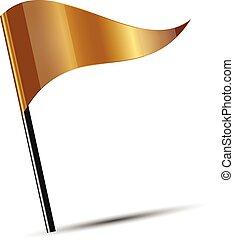 flagga, vektor, guld