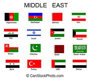 flaggan, alla, lista, asiat, länder