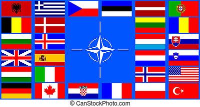 flaggan, av, den, nato, länder