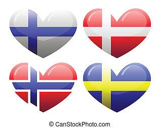 flaggan, av, skandinavien, in, den, bilda, av