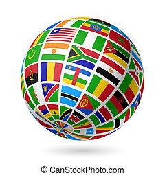 flaggan, globe., afrika.