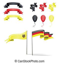 flaggan, sätta, tyskland