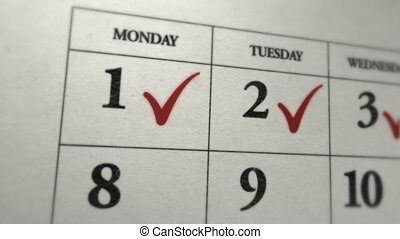 Flagged days in monthly calendar