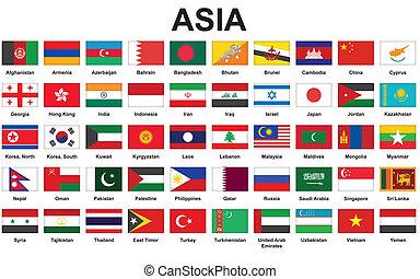 flaggen, asiatisch, länder