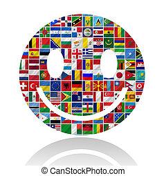 flaggen, mit, lächeln