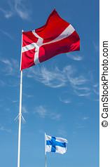 flaggen, von, dänemark, und, finland.