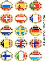 flaggen, von, der, europa