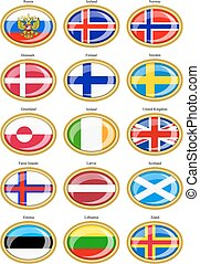 flaggen, von, der, nördlich , europe.
