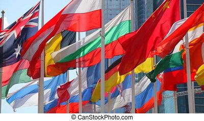 flaggen, von, der, verschieden, länder