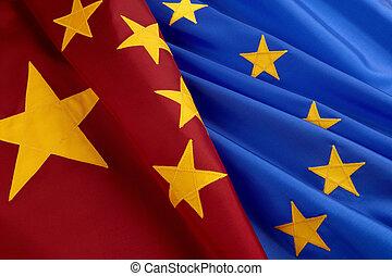 flaggen, von, european union, und, porzellan