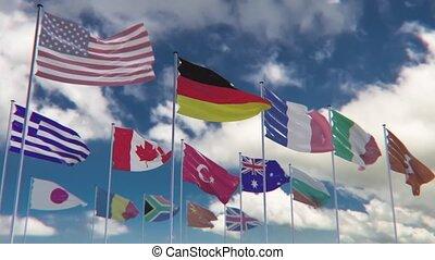 flaggen, von, verschieden, nationen, hq, anim