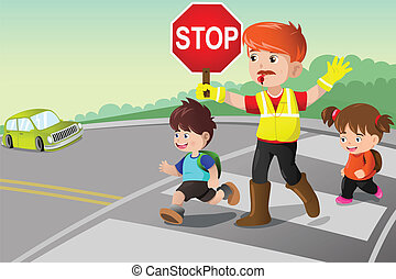 Flagger and kids crossing the street - A vector illustration...