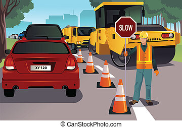Flagger working on road construction - A vector illustration...