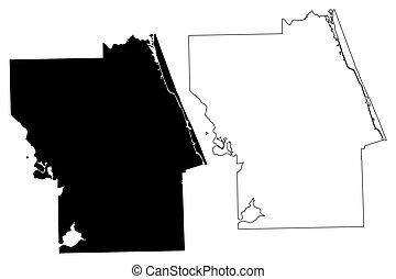 Flagler County, Florida (U.S. county, United States of America, USA, U.S., US) map vector illustration, scribble sketch Flagler map