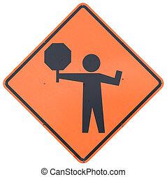 Flagman Ahead road sign