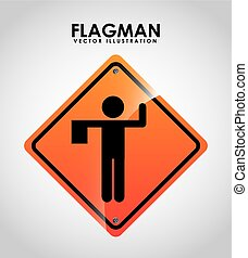 flagman design - flagman signal design,vector illustration...