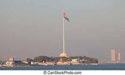 Flagpole in Abu Dhabi, with the height of 122 meters one of...