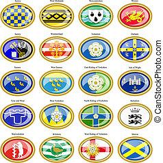 flags., θέτω , αγγλία , επαρχία , icons.