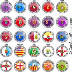 flags., 省, 集合, 西班牙, icons.