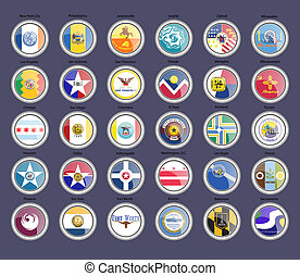 flags., 都市, セット, icons., アメリカ